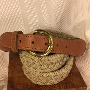 Leather/woven brass buckle made in USA belt
